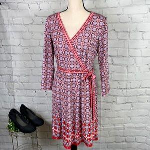 Pinwheel Print Faux Wrap Dress